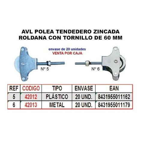 MIBRICOTIENDA avl polea tendedero 5 zincado 60 mm roldana plastico+tornillo (caja 20 unidades)