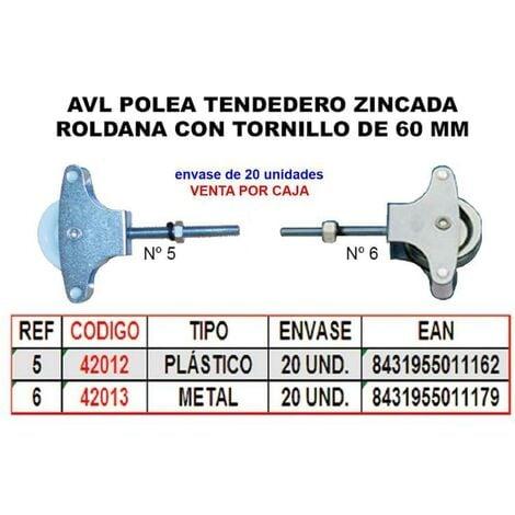 MIBRICOTIENDA avl polea tendedero 6 zincado 60 mm roldana metal+tornillo (caja 20 unidades)