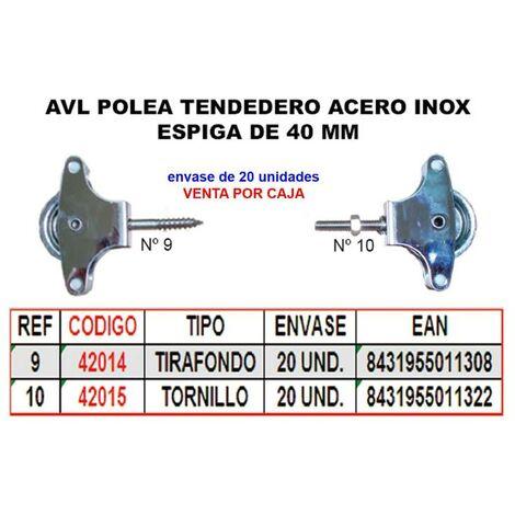 MIBRICOTIENDA avl polea tendedero 9 inox 40 mm roldana metal+tirafondo (caja 20 unidades)