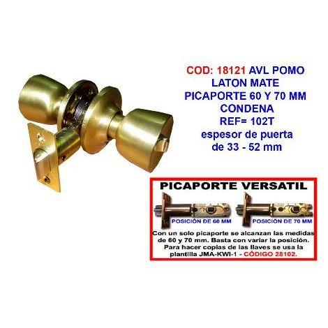 MIBRICOTIENDA avl pomo laton mate picaporte 60 y 70 mm condena 102t