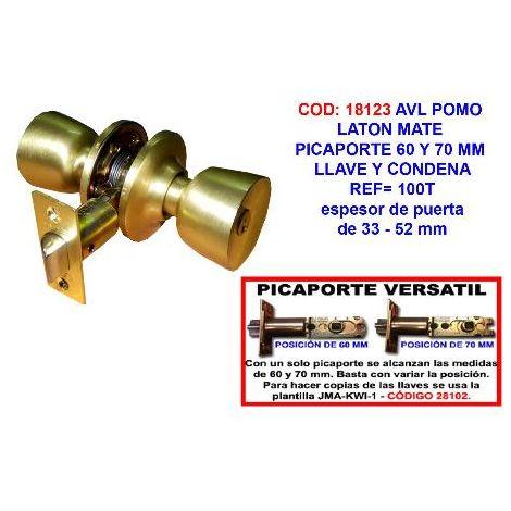 MIBRICOTIENDA avl pomo laton mate picaporte 60 y 70 mm llave y condena 100t