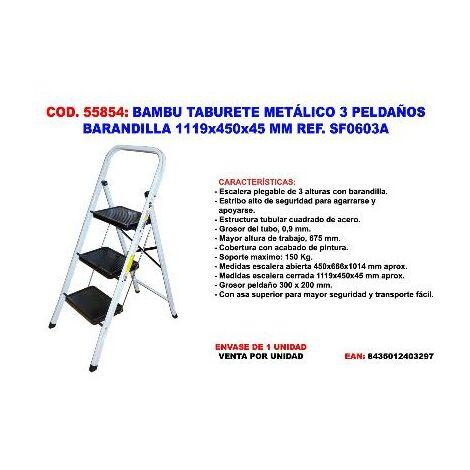 MIBRICOTIENDA bambu taburete metalico 3 peldaños baranda 1119x450x45mm sf0603a