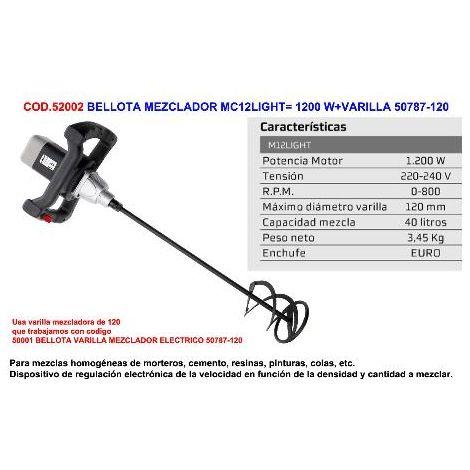 "main image of ""MIBRICOTIENDA bellota mezclador m12light 1200 w+varilla 50787-120"""