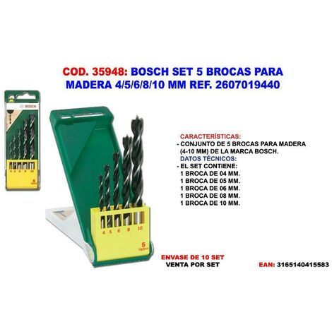 MIBRICOTIENDA bosch set 5 brocas madera 4-5-6-8-10 mm 2 607 019 440