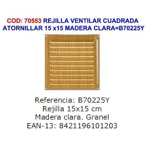 MIBRICOTIENDA brinox rejilla ventilar atornillar 15 x15 madera clara b70225y