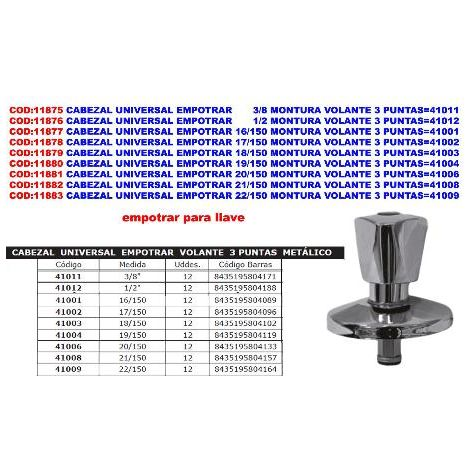 MIBRICOTIENDA cabezal universal empotrar 16-150 montura volante 3 puntas 41001