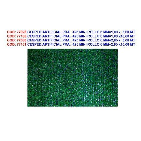 MIBRICOTIENDA cesped artificial pra. 425 mini rollo 6 mm 2,00 x 5,00 mt