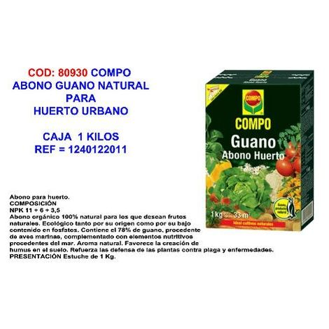 MIBRICOTIENDA compo abono guano natural para huerto urbano 1 k 1240122011