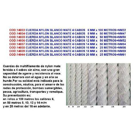 MIBRICOTIENDA cuerda nylon blanco mate 4 cabos 20 mm x 25 metros nm61