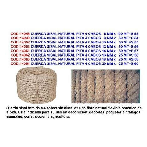 MIBRICOTIENDA cuerda sisal natural pita 4 cabos 20 mm x 25 mt si60