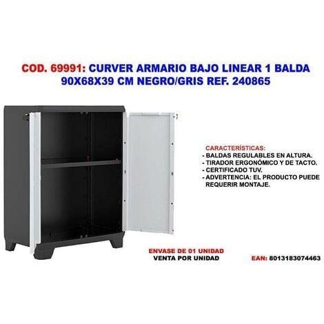 MIBRICOTIENDA curver armario bajo linear 1 balda 90x68x39 cm negro-gris 240865