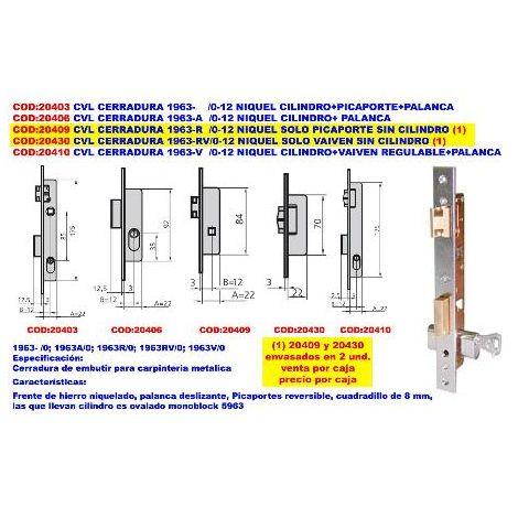 MIBRICOTIENDA cvl cerradura 1963-a -0-12 niquel cilindro+palanca