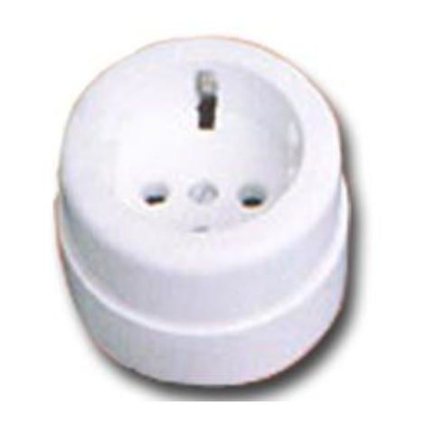 MIBRICOTIENDA electricidad base enchufe superficie redonda con tt bliste 50009