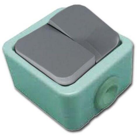 MIBRICOTIENDA electricidad doble interruptor conmutador estanco blister 51003