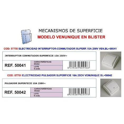 MIBRICOTIENDA electricidad pulsador superf.10a 25ov venunique bl 50042