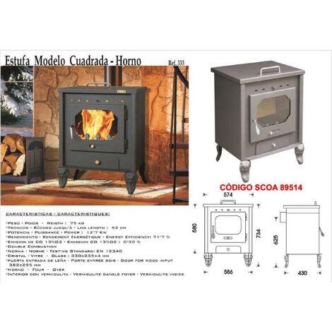 MIBRICOTIENDA estufa leña 333 cuadrada+horno calien.plato salida posterior 120