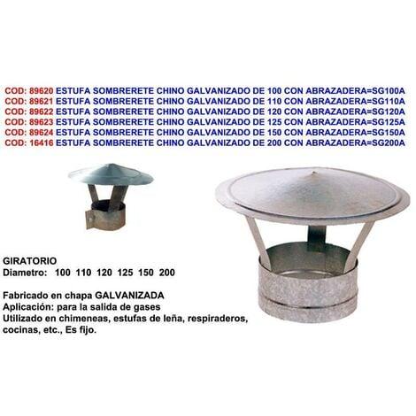 MIBRICOTIENDA estufa sombrerete chino galvanizado de 110 con abrazadera sg110a