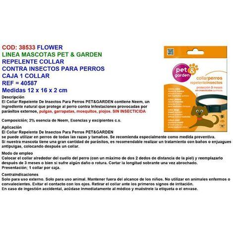 MIBRICOTIENDA flower repelente collar contra insectos perros pet garden 40587