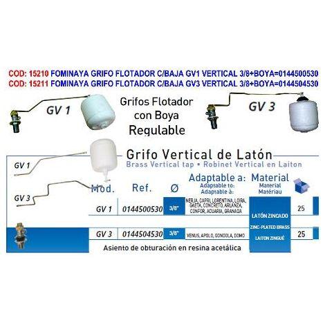MIBRICOTIENDA fominaya grifo flotador c-baja gv1 vertical 3-8+boya 0144500530