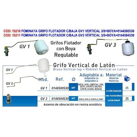 MIBRICOTIENDA fominaya grifo flotador c-baja gv3 vertical 3-8+boya 0144504530