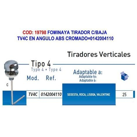 MIBRICOTIENDA fominaya tirador c-baja tv4c en angulo abs cromado 0142004110
