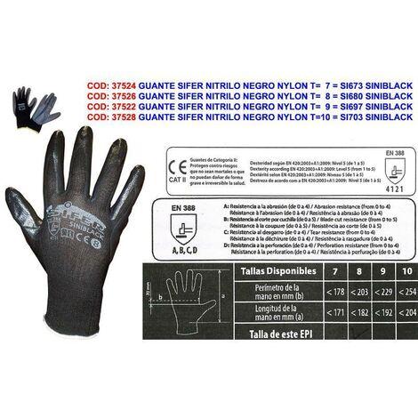 MIBRICOTIENDA guante sifer nitrilo negro nylon t 7 si673 siniblack (caja 12 unidades)