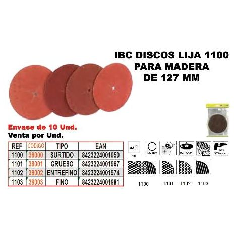 MIBRICOTIENDA ibc 1-103 10 discos lija 127mm madera finos