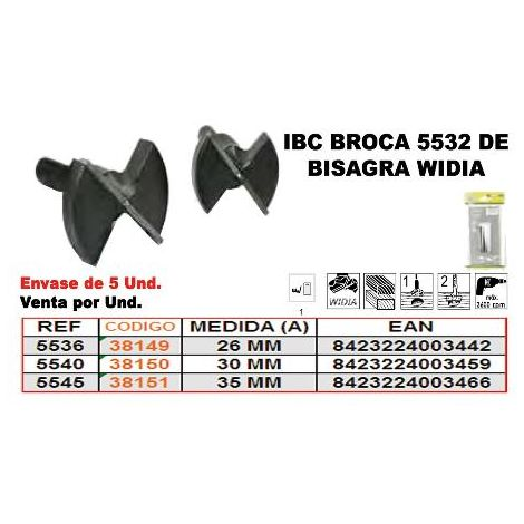 MIBRICOTIENDA ibc 5-536 broca bisagra widia 26 mm