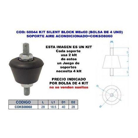 MIBRICOTIENDA kit silent block m8x60 (4 und) soporte aire acondicion cokso8060