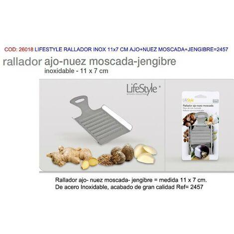 MIBRICOTIENDA lifestyle rallador inox 11x7 cm ajo+nuez moscada+jengibre 2457