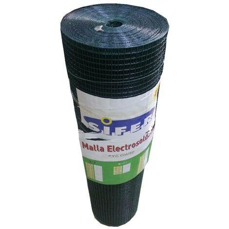 MIBRICOTIENDA malla electrosoldada sifer 13x13x0,8 1.oo mt plastif. verde 25 m