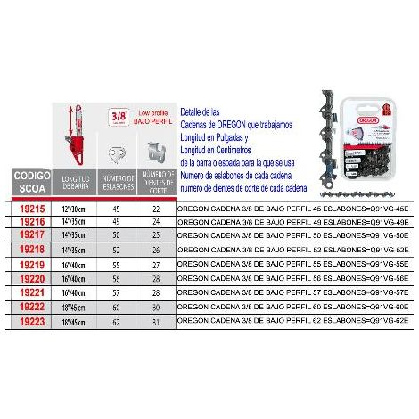 MIBRICOTIENDA oregon cadena 3-8 de bajo perfil 57 eslabones q91vg-57e