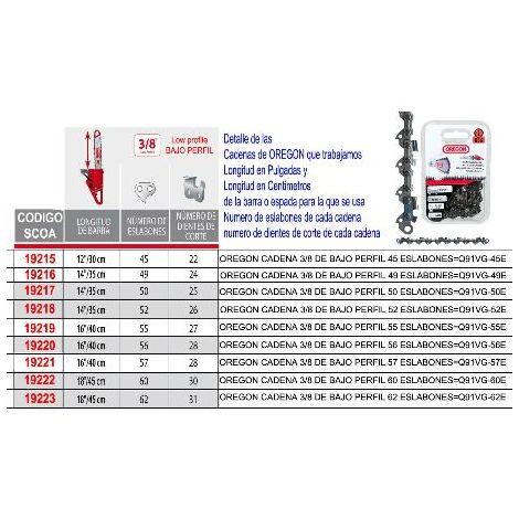 MIBRICOTIENDA oregon cadena 3-8 de bajo perfil 60 eslabones q91vg-60e