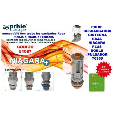 MIBRICOTIENDA prhie descargador cisterna baja niagara plus doblepulsador 70355