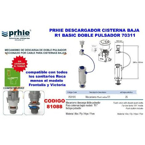 MIBRICOTIENDA prhie descargador cisterna baja r1 basic doble pulsador 70311
