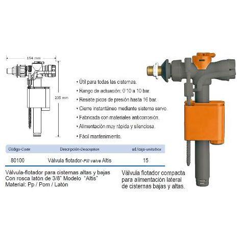 MIBRICOTIENDA prhie valvula flotador lateral cisterna alta-baja altis 80100