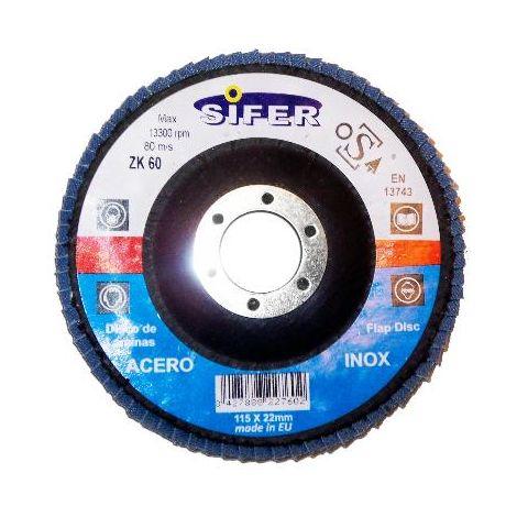 MIBRICOTIENDA sifer disco laminas lija acero inox 115x22. grano 120