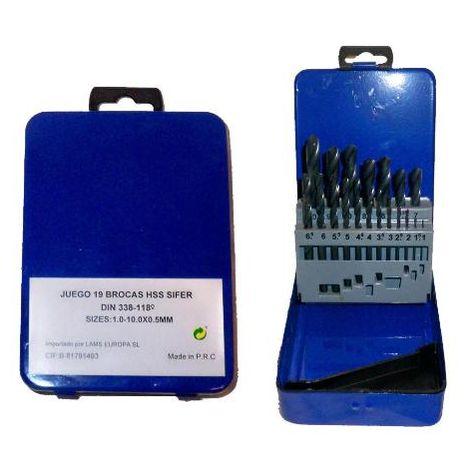 MIBRICOTIENDA sifer juego brocas hss de 1-10 19 und. h-1901-estuche metal