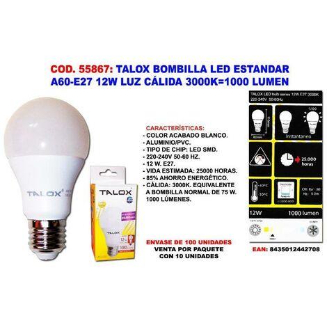 MIBRICOTIENDA talox bombilla led estand a60-e27 12w l.calida 3000k 1000 lumen (caja 10 unidades)