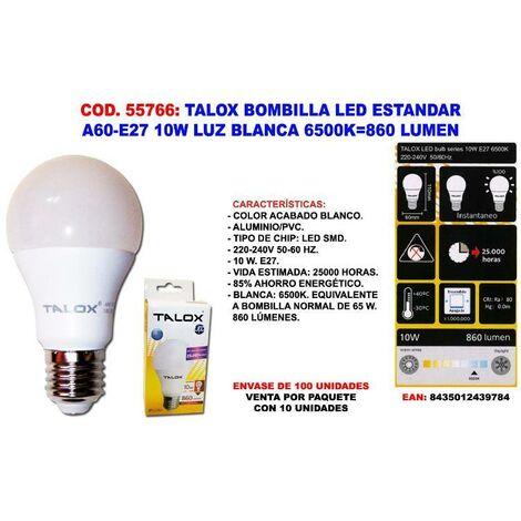 MIBRICOTIENDA talox bombilla led estandar a60-e27 10w l.blanca 6500k 860 lumen (caja 10 unidades)