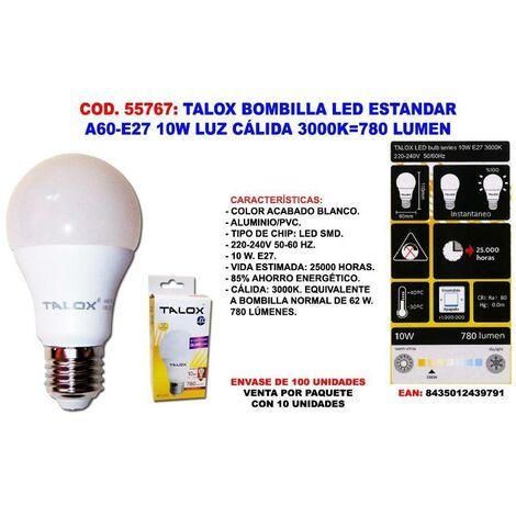 MIBRICOTIENDA talox bombilla led estandar a60-e27 10w l.calida 3000k 780 lumen (caja 10 unidades)