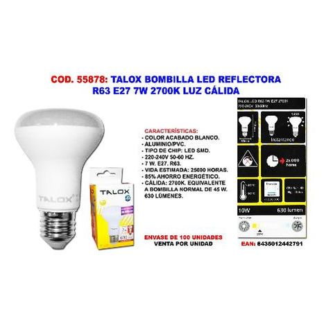 MIBRICOTIENDA talox bombilla led reflectora r63 e27 7w 2700k luz calida