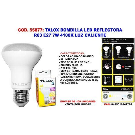 MIBRICOTIENDA talox bombilla led reflectora r63 e27 7w 4100k luz neutra