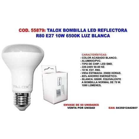 MIBRICOTIENDA talox bombilla led reflectora r80 e27 10w 6500k luz blanca