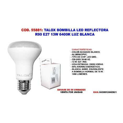 MIBRICOTIENDA talox bombilla led reflectora r90 e27 13w 6400k luz blanca
