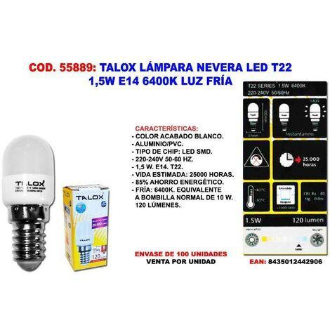 MIBRICOTIENDA talox lampara nevera led 3w e14 3000k