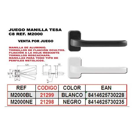 MIBRICOTIENDA tesa juego manilla aluminio c.8 ne ref m2000ne negro