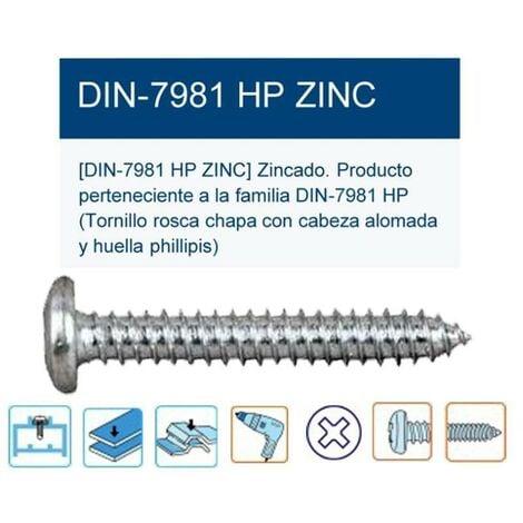 C-H A 2 VE=K 100 unidades Tornillos de chapa DIN 7981 A 2 2,2 x 6,5