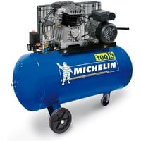 Michelin - Compresseur 100L 3CV Bicylindre fonte 350L/min - MB100-3