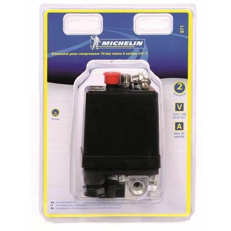 MICHELIN Pressostat Pour Compresseur 10 Bars Mono 4 Sorties 1/4 Femelle
